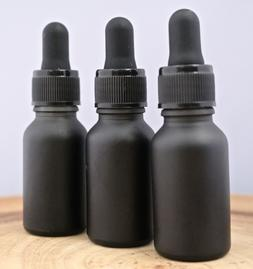1/2 oz BLACK Glass Bottle with Glass Eye Dropper  - Pack of