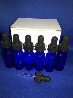 6 - 1/2 Oz COBALT Glass Bottle with Glass Eye Dropper  - Pac