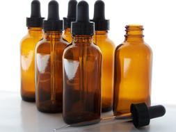 2oz Amber Glass Bottles 6 Pack of Chemistry Lab Vials Medici