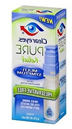 Clear Eyes Pure Relief Multi-Symptom Eye Drops, 0.34 Fl Oz