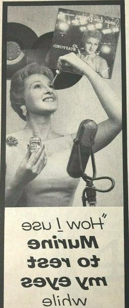 Murine Eye Drops Magazine Print Ad Vintage 1959 Jo Stafford