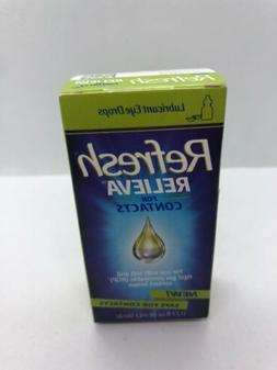 FRESH! 3 Box Lot REFRESH RELIEVA FOR CONTACTS Eye Drops 0.33