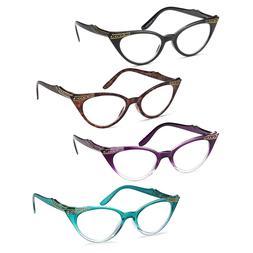 GAMMA RAY 3 Pairs Women Vintage Cat Eye Reading Glasses Read
