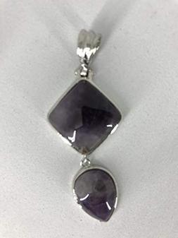natural gemstone diamond and teardrop pendant