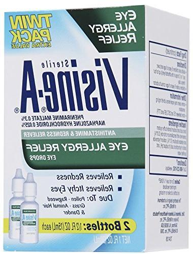 Visine Eye Allergy Reliever Eye Oz, Twin Pack