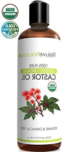 Castor Oil  USDA Certified Organic, 100% Pure, Cold Pressed,