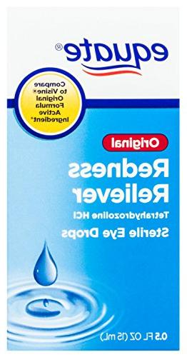 Equate Redness Reliever Sterile Eye Drops 0.5oz Bottle 6 Gives Long for Itching, Dryness Eyes Tetrahydrozoline.