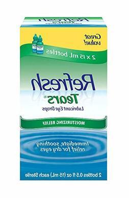 Refresh Tears Lubricant Eye Drops, 2 Bottles 0.5 fl oz ,15mL