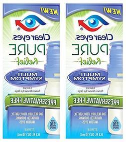 Clear Eyes Pure Relief Multi-Symptom Eye Drops, 0.34 Fl Oz b