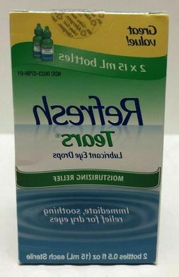 Refresh Tears Lubricant Eye Drops 2 Bottles 0.5 fl oz 15mL e