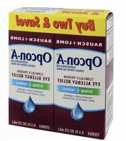 Twin Pack Bausch&Lomb Opcon-A Eye Drops Allergy Relief Redne
