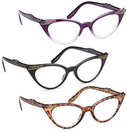 GAMMA RAY OPTICS 3 Pairs Ladies' Vintage Cat Eye Readers  -