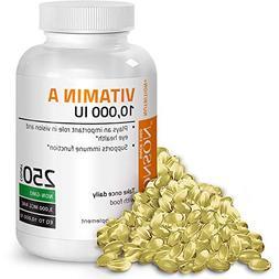 Bronson Vitamin A 10000 IU Fish Liver Oil, 250 Softgels